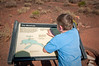 (8.8.09 -- Wupatki National Monument)  During our visit to Flagstaff for the Cardinal's training camp, we took did some other sightseeing.  Here Connor is checking out the blowholde at the Wupatki Ruins.  It is one of 5 of this type of geological phenomenon in the world.