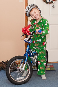 K.C. poses with his brand new balance bike.  Look ma, no pedals (or training wheels).