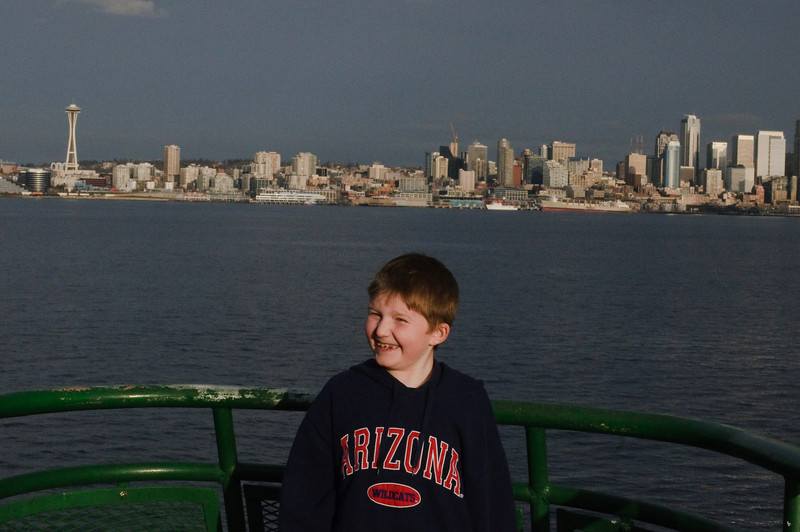 Connor with the Seattle skyline in the background.