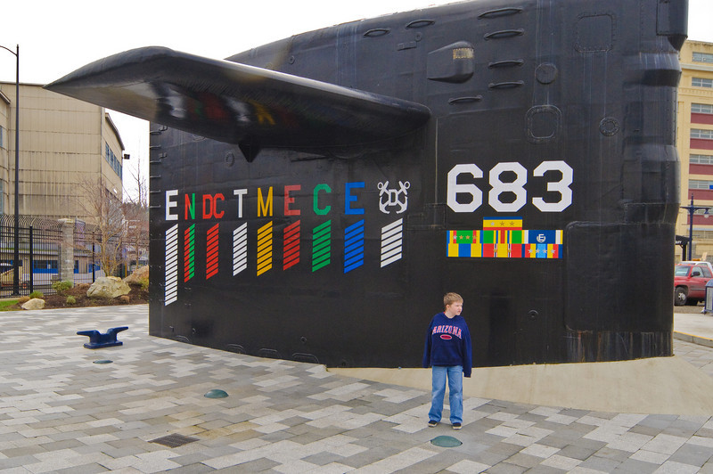 Connor at the Naval Museum of the Pacific in Bremerton.  This is the sail of the USS Parche, the most decorated submarine in the history of the Navy.