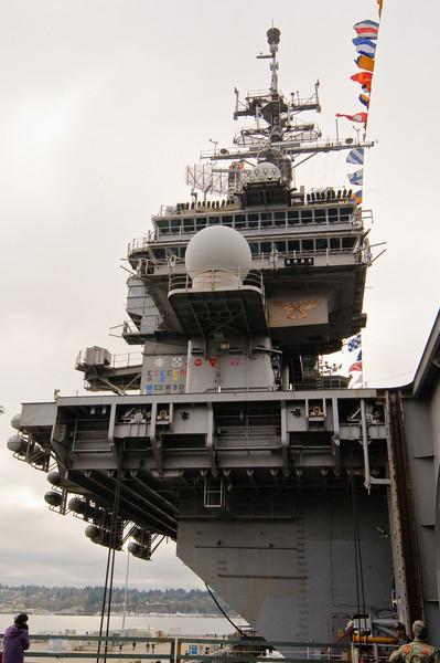The island of the USS Kitty Hawk.