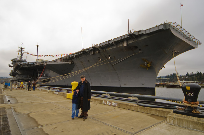 Connor and Grandpa at the USS Kitty Hawk.