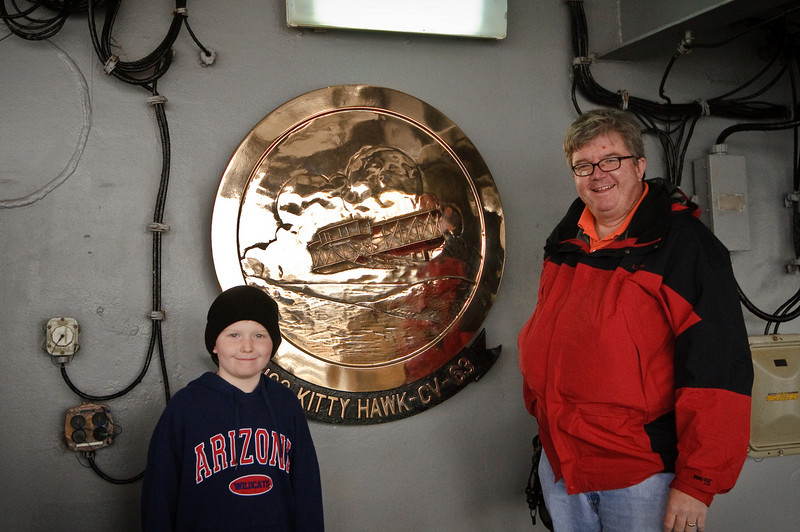 Dad and Connor on the USS Kitty Hawk.