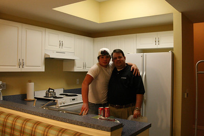 TW (or Tony: Shannon's cousin) and Shannon in the kitchen of our condo just after we arrived...at 1am!