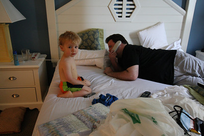 Getting ready for the beach on Wednesday morning. Anderson is in his swim trunks. Shannon is talking with someone who wanted us to attend a meeting about buying into the time share. Done that! Don't want to do it again! But they weren't too pushy. We only had the one call...