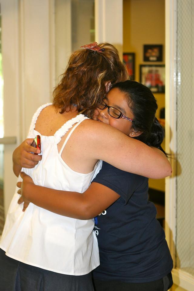 Jackie hugs Mrs