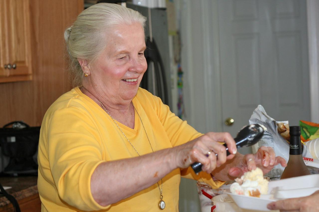Kathy serves ice cream