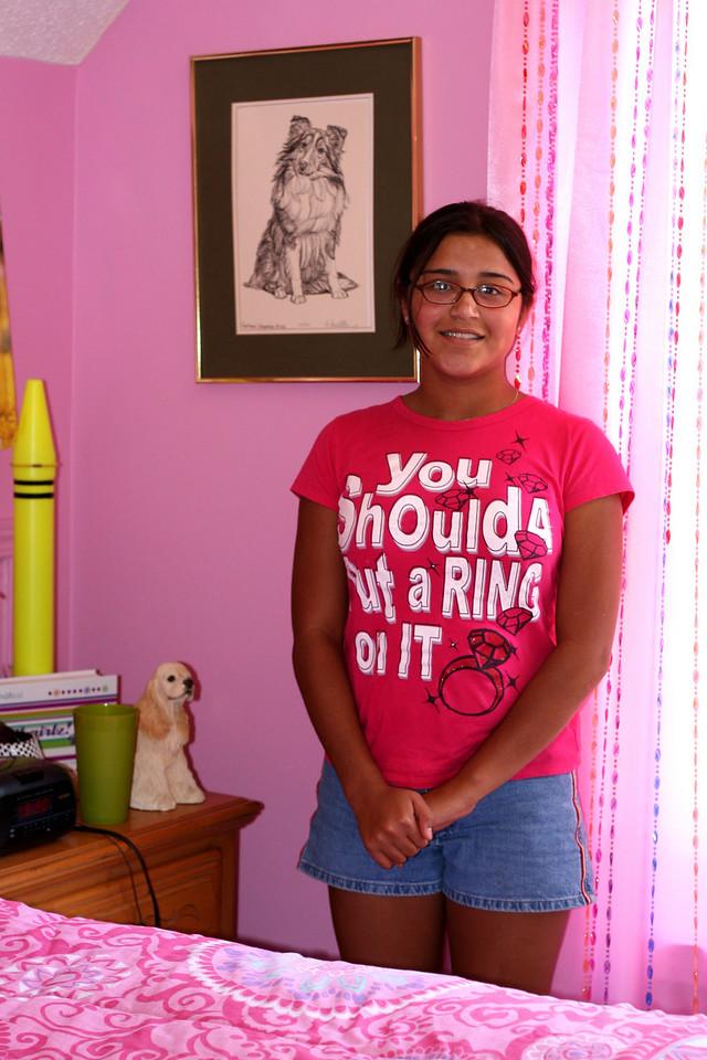 Liz in her very pink room