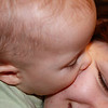 Liam shows off by giving his Mom a kiss.