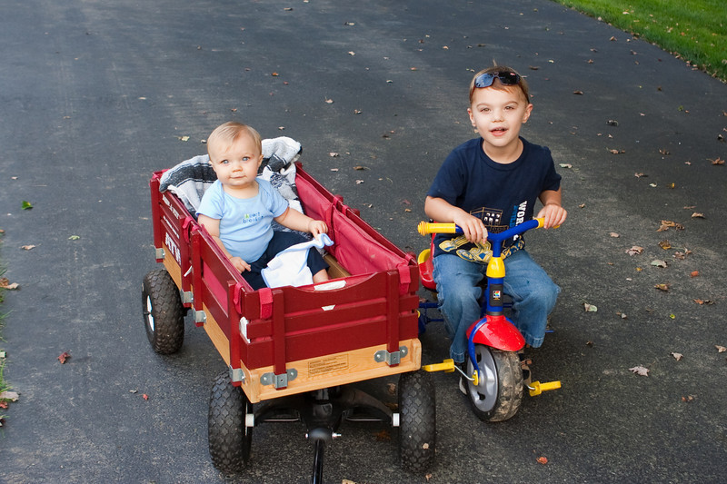 The boys are getting ready for a ride.