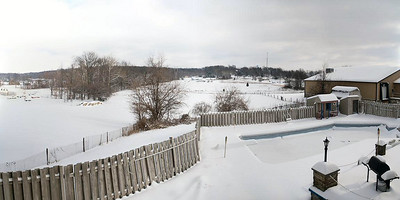 Panoramic view of our backyard.