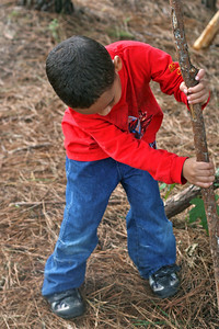 Yamil helps build a tepee out of fallen branches