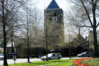 View of the church from the center of Chevy Chase Circle.