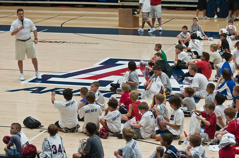 6.25.2009 -- Coach Miller addressing the campers.<br /> <br /> The closing ceremonies of the Sean Miller Basketball in which Connor participated.