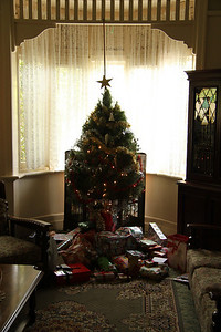 The traditional Christmas tree, with lots of presents