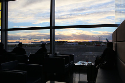 Sunset at the airport before flight to USA