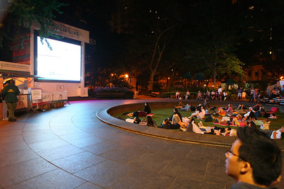 Public watching soccer match in the park