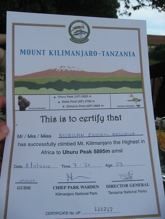 Morgan Bellmor's Certificate For Climbing To The Summit of Mount Kilimanjaro In Tanzania November 2010