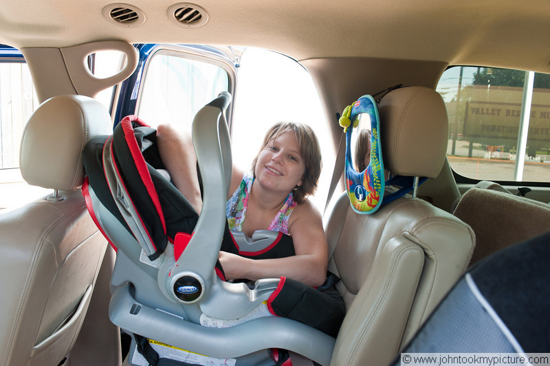 She looks a little tired after setting up that carseat; maybe I should have put the camera down and helped her ;-)