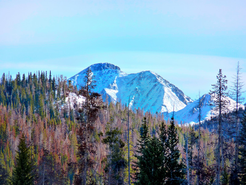 Mt. Richtofen, as viewed from the deck of Cabin 5 at 79mm. The ridge is the border of Rocky Mountain National Park.