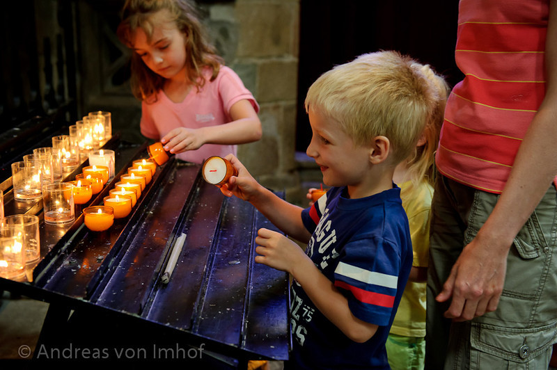 Lighting candles for missing family