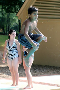 Michael goes off the diving board