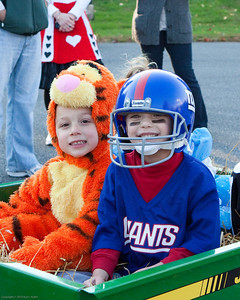 K.C. and Amleto get ready for a hay ride.