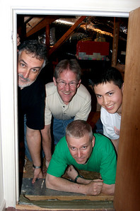Al, Stacy, Mark and Colin in the very short door to the attic