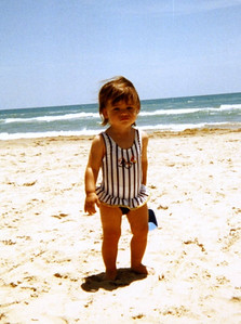 Rachel at the South Padre Island, TX, beach in the summer of 1996.