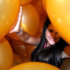 Rachel being swallowed by the giant Balloon Monster at the Nasher Sculpture Garden!