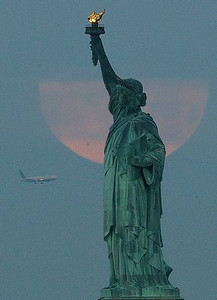 Supermoon, the first FULL day of summer, June 22, 2013.  New York, NY.