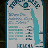 A sign near the docks gives some interesting statistics about the lake. It's painted in some of the many colors of Torch Lake waters.