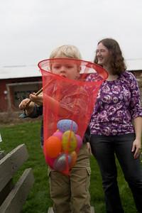 Quinton shows his Easter egg hunt haul