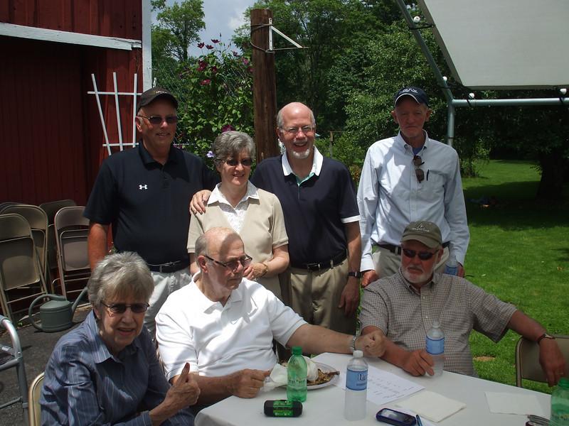 Back row: Tom Leahy, Jane (Morgan), Paul Weston, Bob Salton<br /> Front row: Shirley (Morgan), Michael Leahy, Bruce Salton