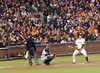 Giants' centerfielder Aaron Rowand had a peculiar batting stance.