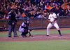 Giants' centerfielder Aaron Rowand had a peculiar batting stance (second image).