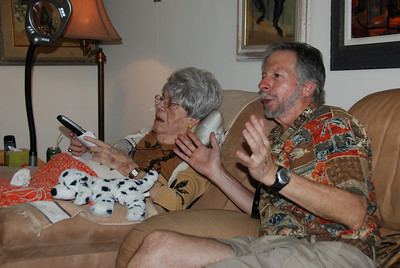 Larry helps Margaret learn the remote for the new tv.