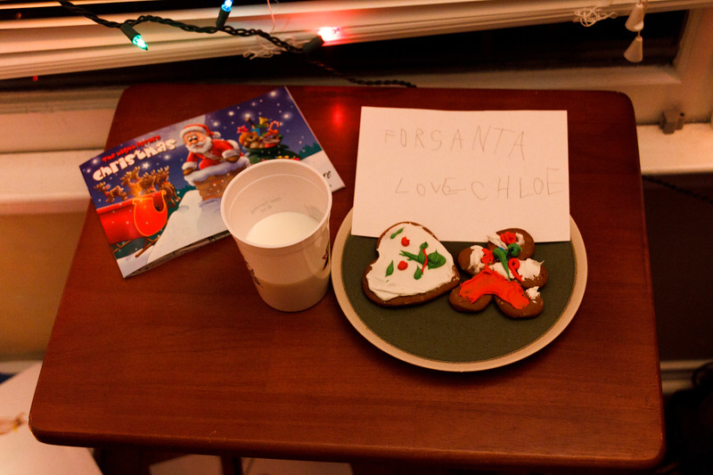 Chloe set our cookies and milk for Santa - Christmas Eve 2011