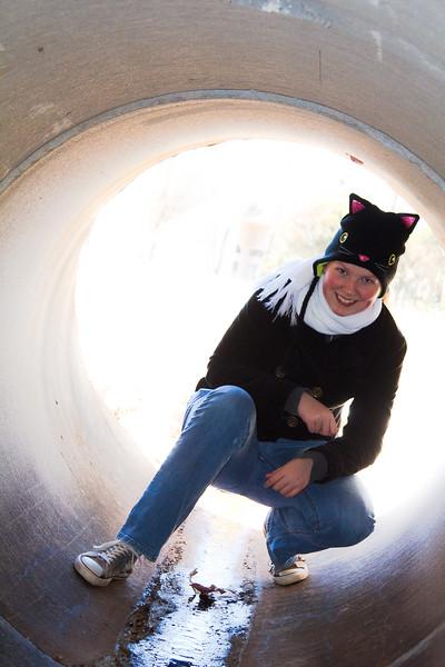 Abigail in a drainage tunnel at Dublin Park - February 2012