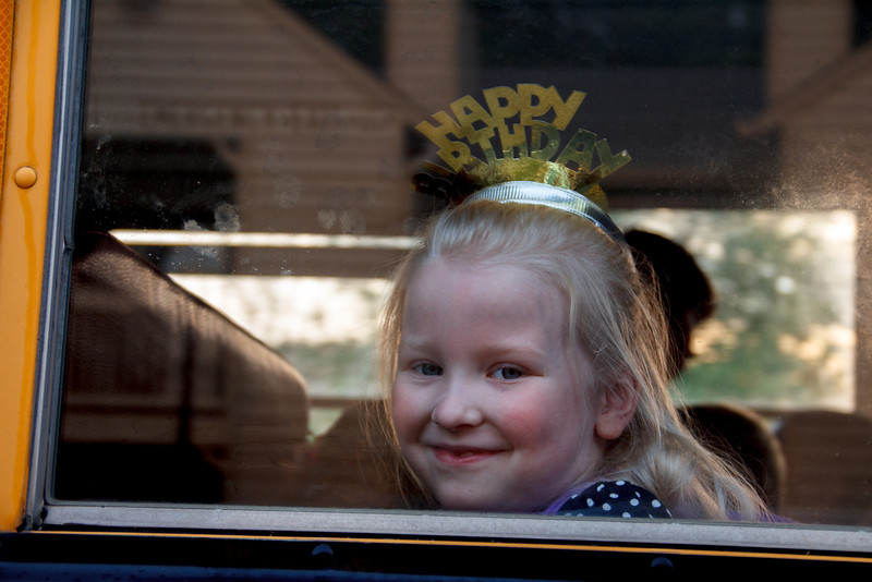 Chloe on the school bus, on her 6th birthday, March 29th, 2012