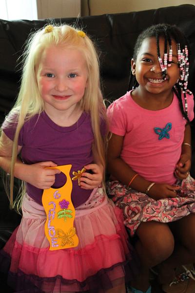 "One of the crafts was a door knob hanger.  Notice Chloe's backward ""C"" - LOL"