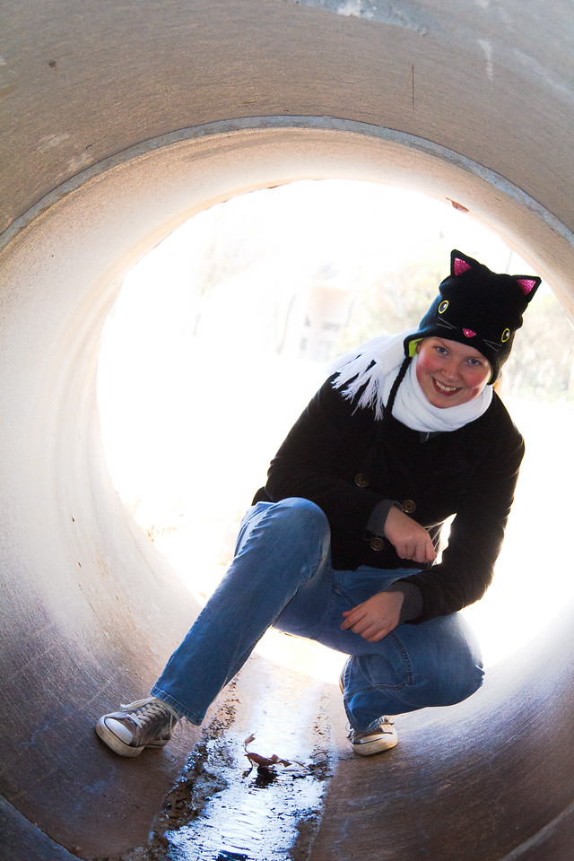 Abigail in a drainage tunnel at Dublin Park - February 2012