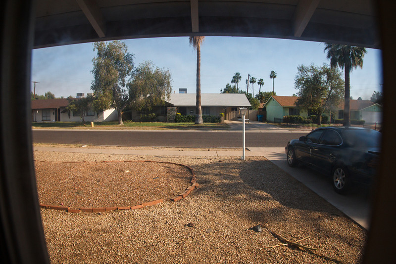 View of the front yard from a bedroom - Phoenix, May 2012