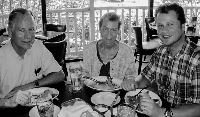 Paul, Faith, and Tim, at Pappadeaux, in Phoenix, Arizona, May 2012