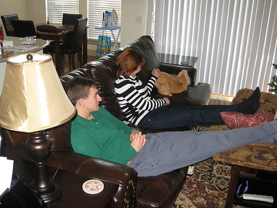 Ann, Morgan & Fuzzy Bellmor At Morgan's Houston Apartment December 2011