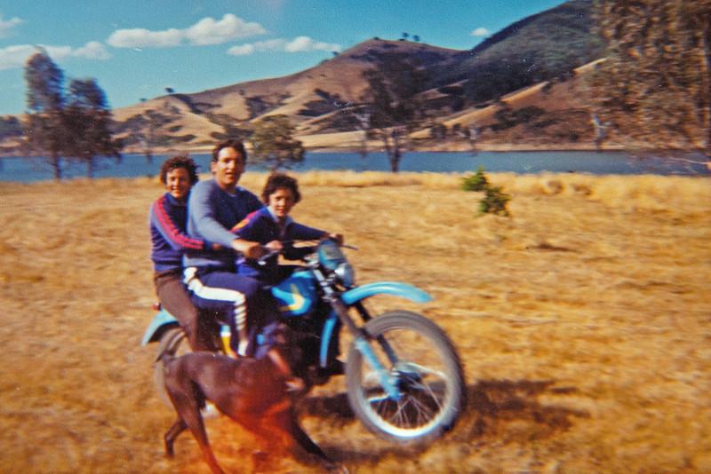 Dennis Adami, Harald Wessel, Lark Adami and Whiskey, near Lake Eildon, 1979 or early 1980.