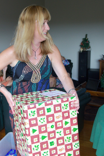 Kylie. Handing out the Monster Kris Kringle present.