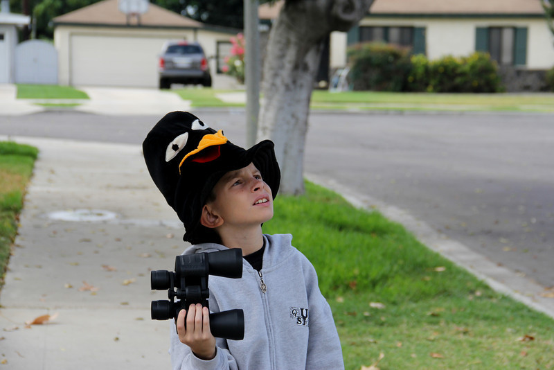 Bird hunter with bird decoy hat.