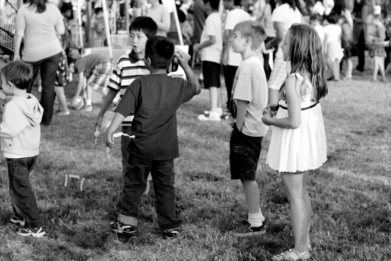Waiting in line-  School Fair.