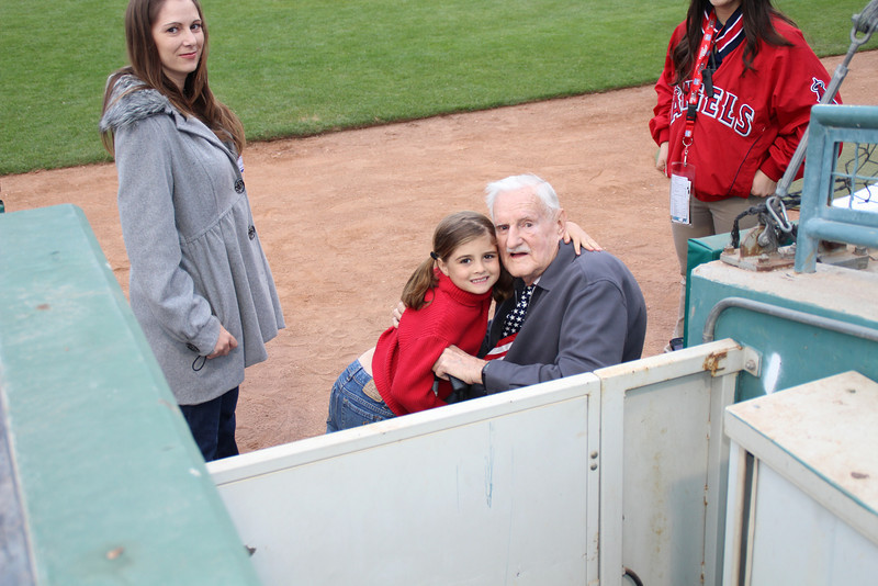 89 1/2 year old Norm and great granddaughter 7 1/2 year old Sydney sang the National Anthem for the Inland Empire 66ers baseball game - 22